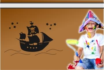 wandtattoo piratenschiff kinderzimmer kindersticker. Black Bedroom Furniture Sets. Home Design Ideas