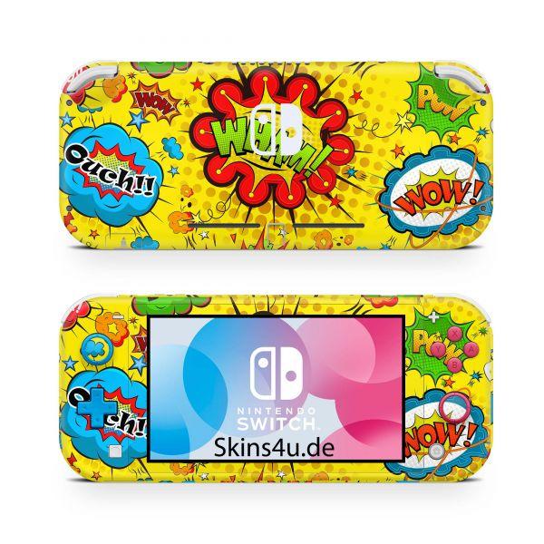 Nintendo Switch Lite Front & Back Skin Aufkleber Schutzfolie Comics gelb