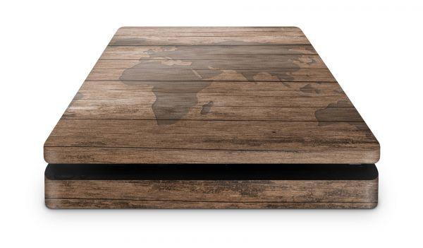 Playstation 4 SLIM Skin Design Sticker Aufkleber für PS4 Slim Wood World