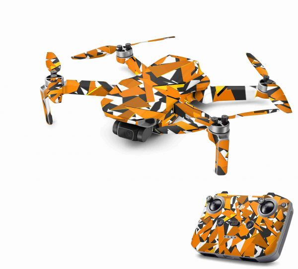DJI Mavic Mini 2 Skin Aufkleber Wraps Skins Design Folie Signal Orange