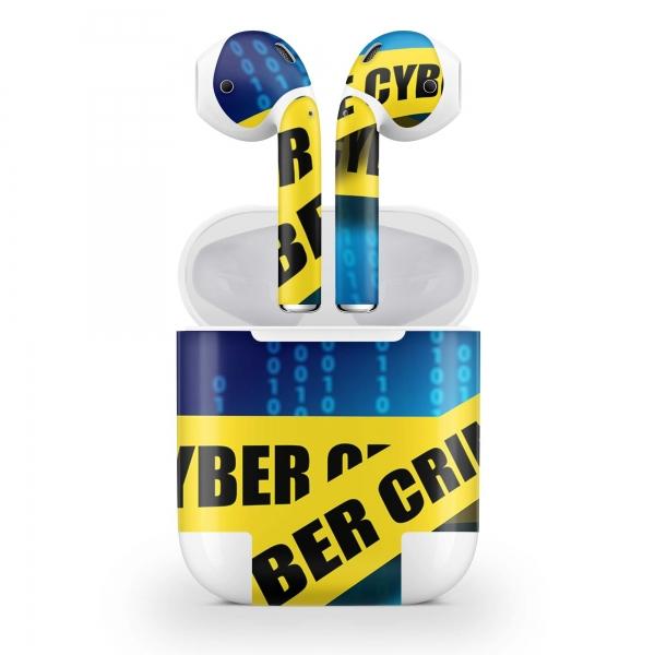 Apple AirPods Skin Aufkleber Design Vinyl Skins Schutzfolie ( 2.Gen. Wireless ) Cyber Crime
