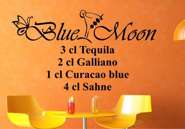 """Wandtattoo Cocktail Rezept Drink """"Blue Moon"""""""