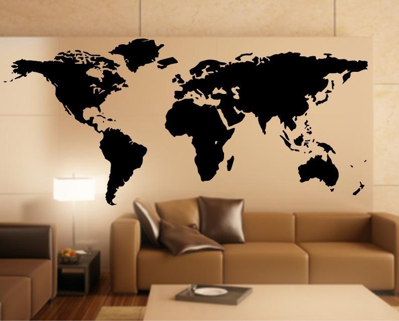 Wandtattoo Weltkarte, Wandaufkleber Weltkarte, World Map Wandtattoo,  Wandtattoo Europa   Skins4u