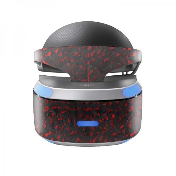 Sony Playstation VR Skin PS4 Design Aufkleber Shattered black Red