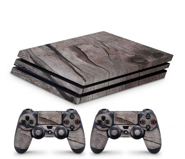 Playstation 4 Pro Skin Aufkleber + PS4 Controller Skins Split Holz 9