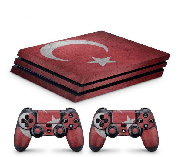 Playstation 4 Pro Skin Aufkleber + PS4 Controller Skins Tuerkei Vintage