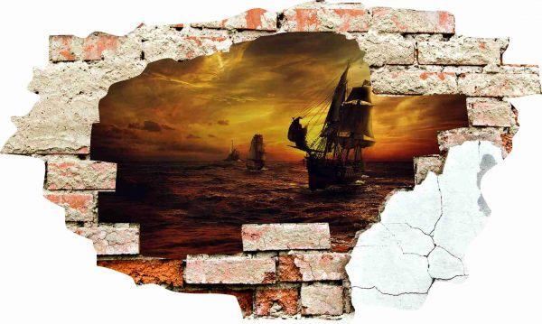 Wanddurchbruch 3D Optik Wandtattoo Wandbild Aufkleber Piraten