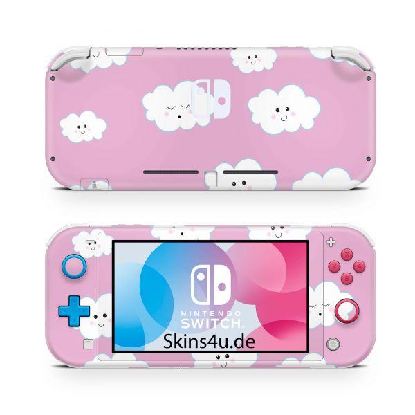 Nintendo Switch Lite Front & Back Skin Aufkleber Schutzfolie süße Wolken pink