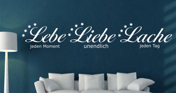 """Wandtattoo Spruch Zitat """"Lebe Liebe Lache"""""""