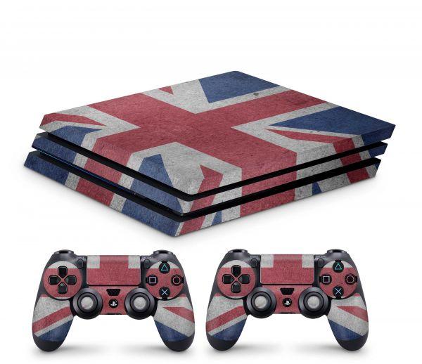 Playstation 4 Pro Skin Aufkleber + PS4 Controller Skins Union Jack