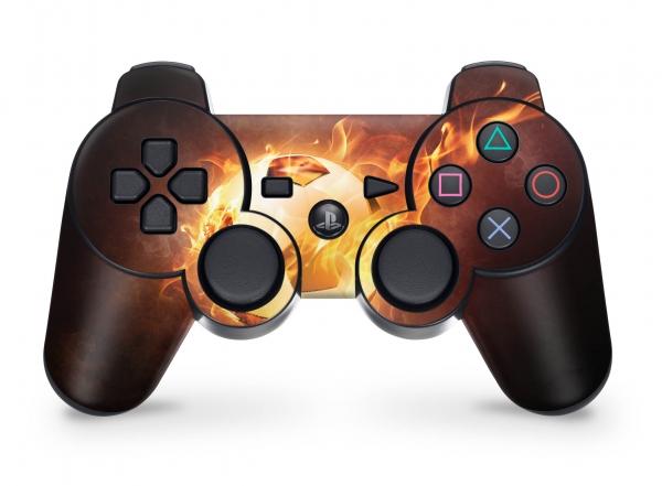 Playstation 3 Controller Skin PS3 Aufkleber Set - Brennender Fussball
