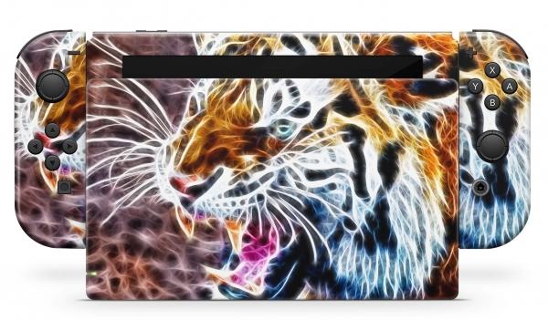 Nintendo Switch Skins Aufkleber Design Schutzfolie Set Fractal Tiger