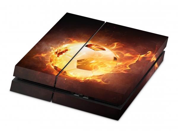Sony Playstation 4 Aufkleber Skin PS4 Designfolie - Brennender Fussball