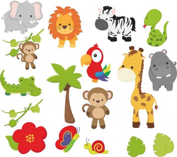 Wandtattoo Kinderzimmer niedliche Afrika Tiere