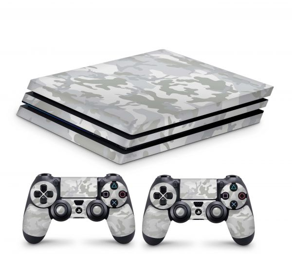 Playstation 4 Pro Skin Aufkleber + PS4 Controller Skins White Camo