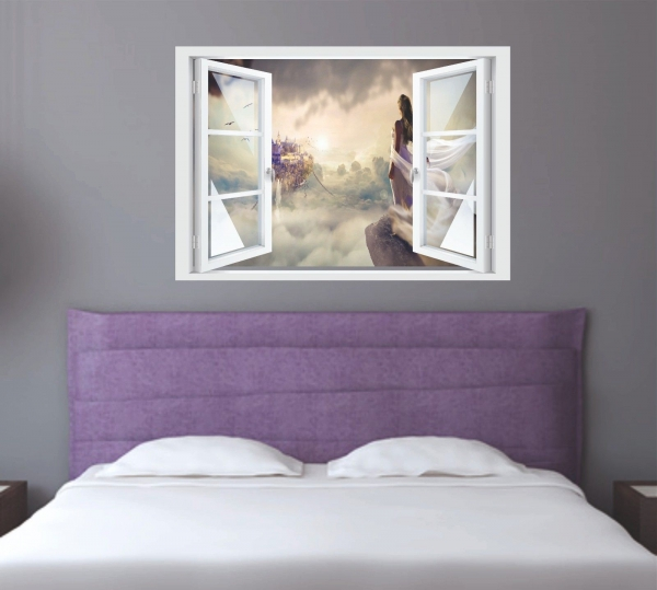 Wandtattoo Fenster 3D Optik Wandsticker Aufkleber Deko Bild - Fantasy Dreams