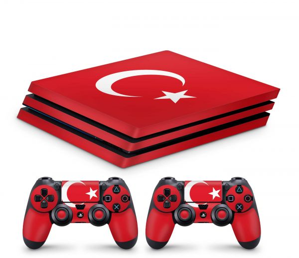 Playstation 4 Pro Skin Aufkleber + PS4 Controller Skins Tuerkei Flagge rot