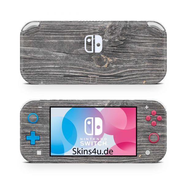 Nintendo Switch Lite Front & Back Skin Aufkleber Schutzfolie Grey Woodgrain
