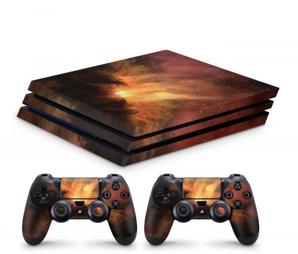 Playstation 4 Pro Skin Aufkleber + PS4 Controller Skins Solar Storm