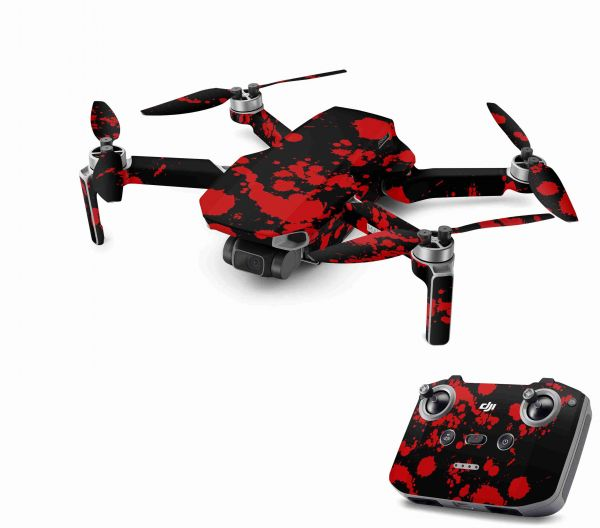 DJI Mavic Mini 2 Skin Aufkleber Wraps Skins Design Folie Blood Black
