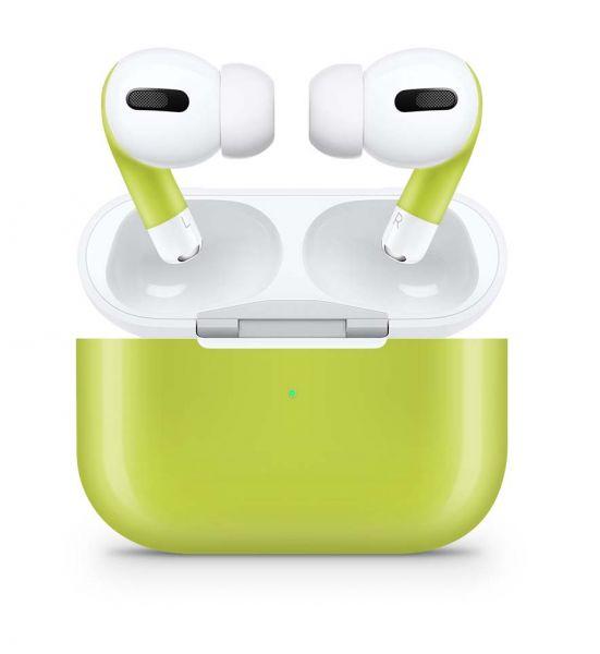Apple AirPods Pro Skin Aufkleber Design Vinyl Skins Schutzfolie Solid State Lime