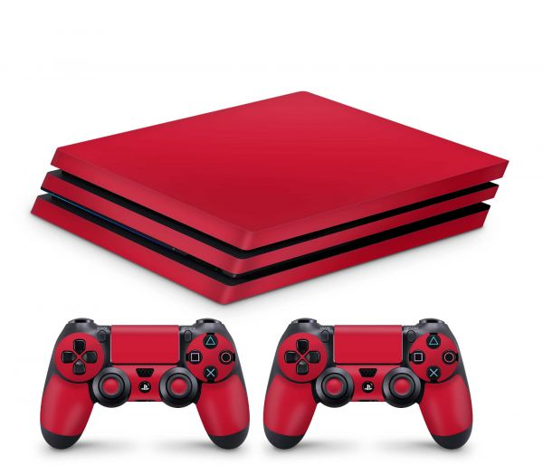 Playstation 4 Pro Skin Aufkleber + PS4 Controller Skins Solid State rot