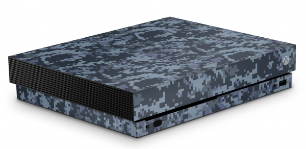 Xbox One X Schutzfolie Skin Aufkleber Design - Digital Navy Camo