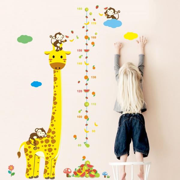 Wandtattoo Kinder Meßlatte Größe messen Giraffe Tiere