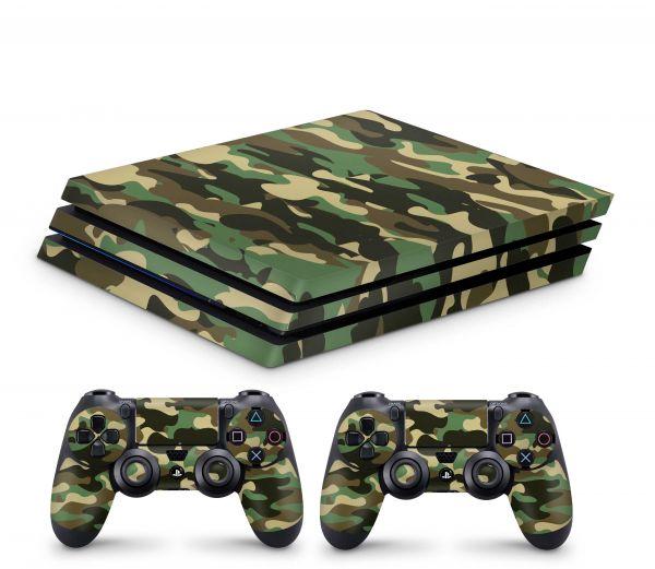 Playstation 4 Pro Skin Aufkleber + PS4 Controller Skins Wood Camo