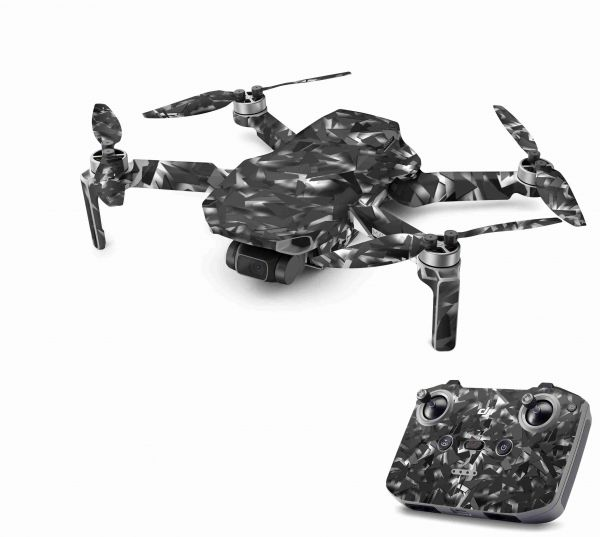 DJI Mavic Mini 2 Skin Aufkleber Wraps Skins Design Folie Shattered black grey