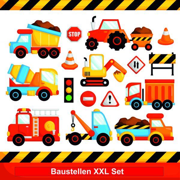 Wandtattoo Kinderzimmer Baustelle mit Fahrzeugen