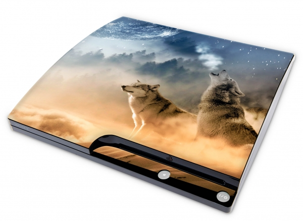 Sony Playstation 3 Slim Aufkleber Skin Designfolie PS3 - Howling Moon