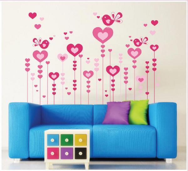 Wandtattoo Liebesblumen Love Flowers mit Herzen