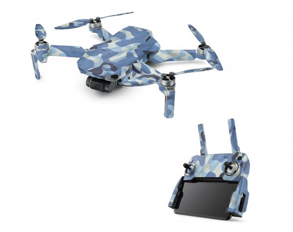 DJI Mavic Mini Skin Aufkleber Wraps Skins Design Folie Waving camo blue