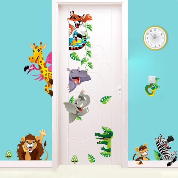 XXL Wandtattoo Tiere Kinder Löwe Giraffe Zebra