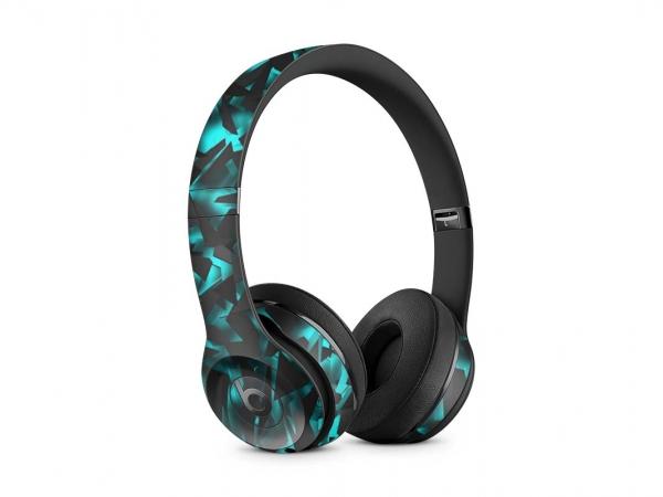 Beats Solo 2 Skin Design Aufkleber Wired Schutzfolie Shattered black Blue