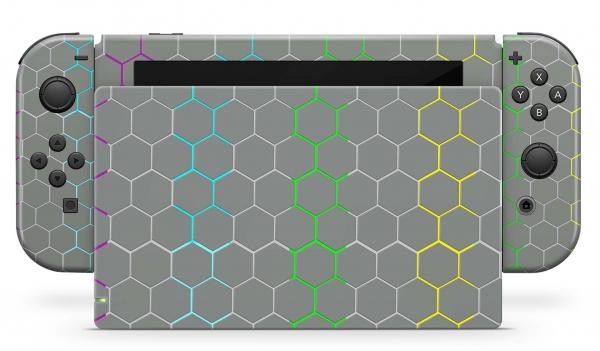 Nintendo Switch Skins Aufkleber Design Schutzfolie Set Exo Grey Rainbow