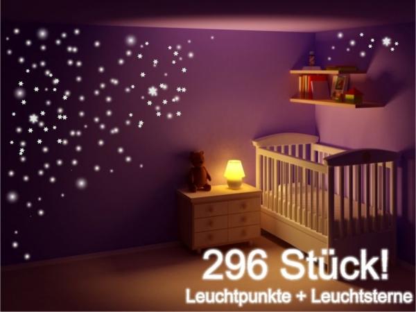 Leuchtsticker Wandtattoo Leuchtpunkte Night Glow 296 Sterne & Punkte