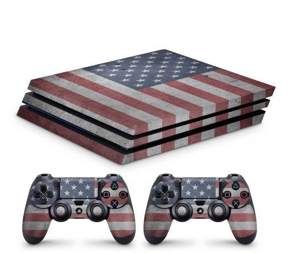Playstation 4 Pro Skin Aufkleber + PS4 Controller Skins USA Patriotic