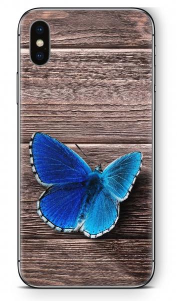 Apple iPhone X Skin Aufkleber Design Schutzfolie Butterfly Wood