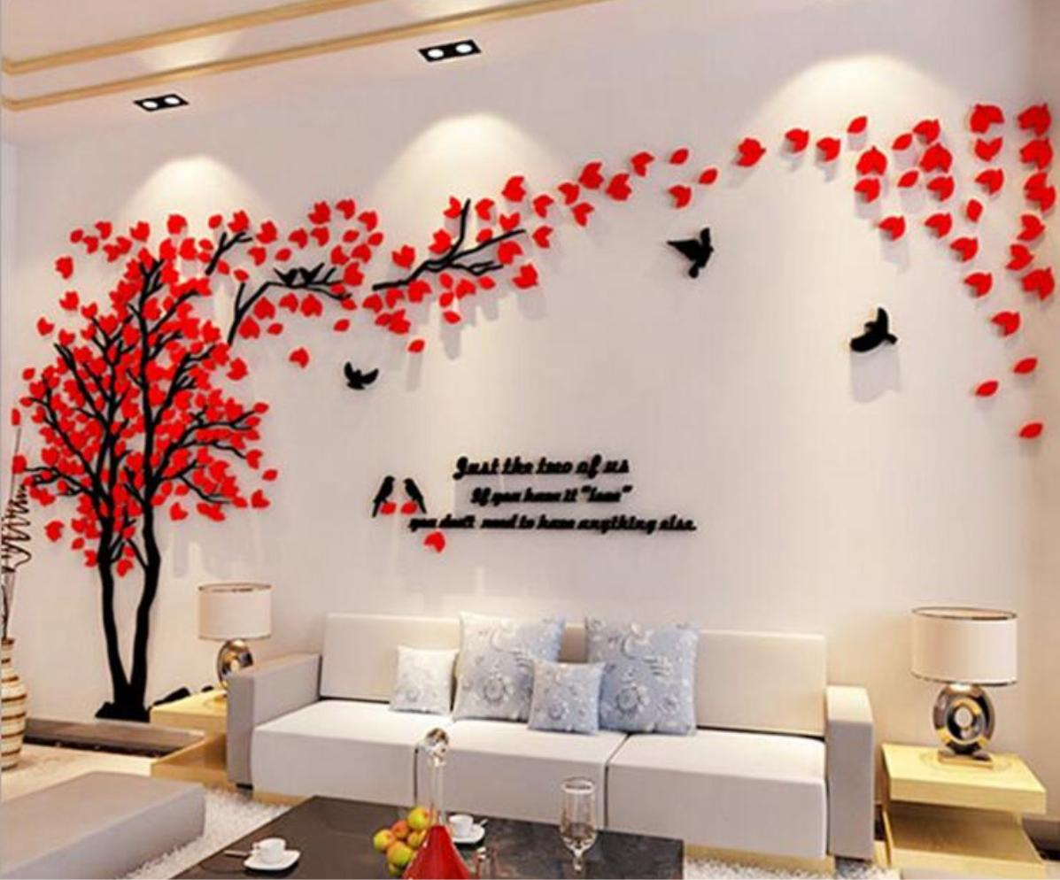 Malerisch Wandtattoo Bäume Dekoration Von Acryl Baum Blüten Blätter Vögel Jetzt Günstig