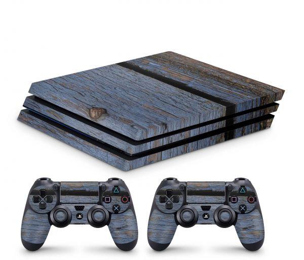 Playstation 4 Pro Skin Aufkleber + PS4 Controller Skins Grunge Wood Holz 9