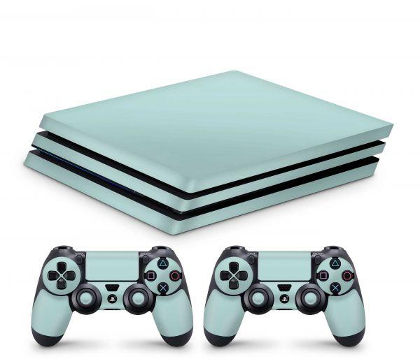 Playstation 4 Pro Skin Aufkleber + PS4 Controller Skins Solid State mint