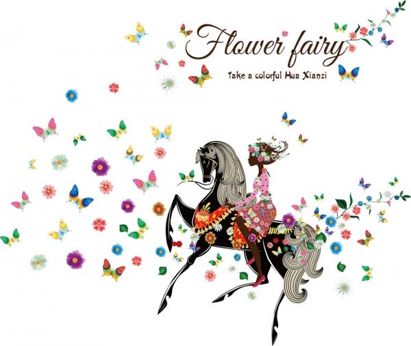 Wandtattoo Elfe Fee auf Pferd mit Schmetterlingen