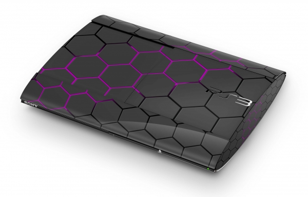 Playstation 3 Super SLIM Skin PS3 Aufkleber Design Schutzfolie Exo Purple