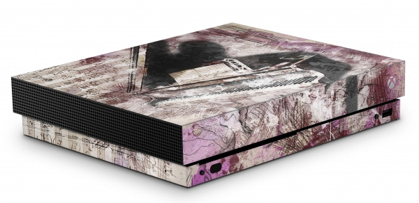 Xbox One X Schutzfolie Skin Aufkleber Design - Piano