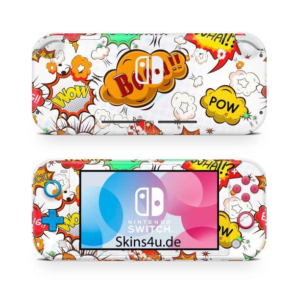 Nintendo Switch Lite Front & Back Skin Aufkleber Schutzfolie Comics Weiss