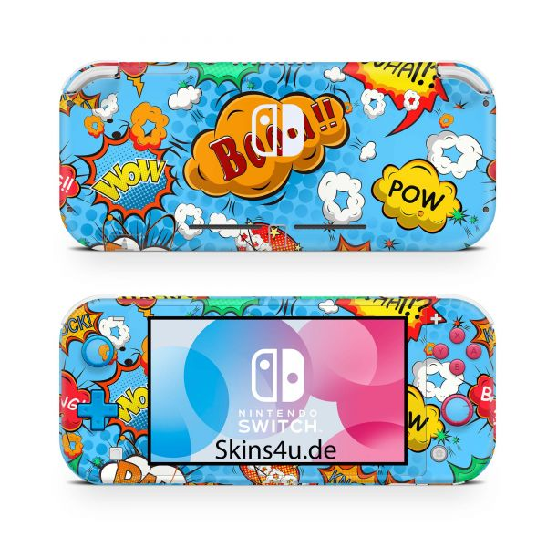 Nintendo Switch Lite Front & Back Skin Aufkleber Schutzfolie Comics blau