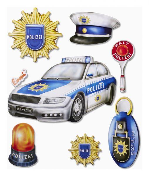Coole 3D Sticker Wandtattoo Wanmdsticker Basteln Möbel Deko Kinder aus fester Pappe - Polizei