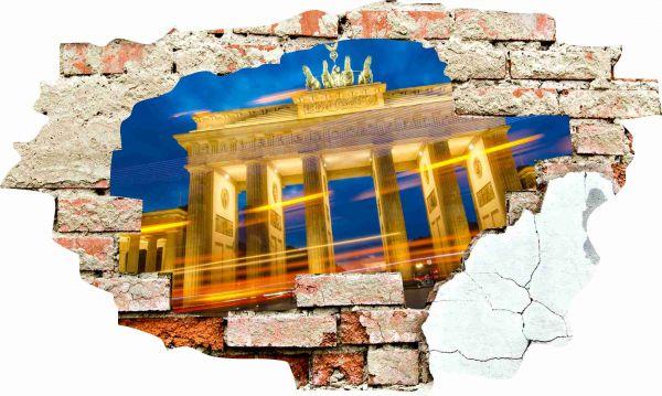 Wanddurchbruch 3D Optik Wandtattoo Wandbild Aufkleber Brandenburger Tor